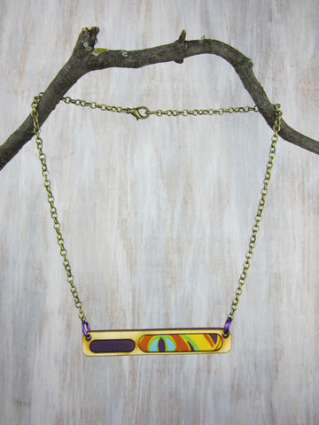 Wood/Fabric Necklace - Majestic Jewel Bar {ONE-OF-A-KIND}