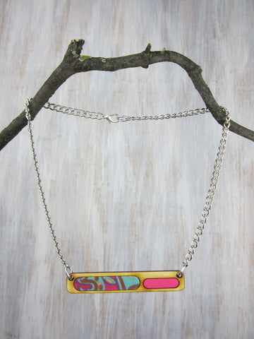 Wood/Fabric Necklace - Pink Tide Bar {ONE-OF-A-KIND}