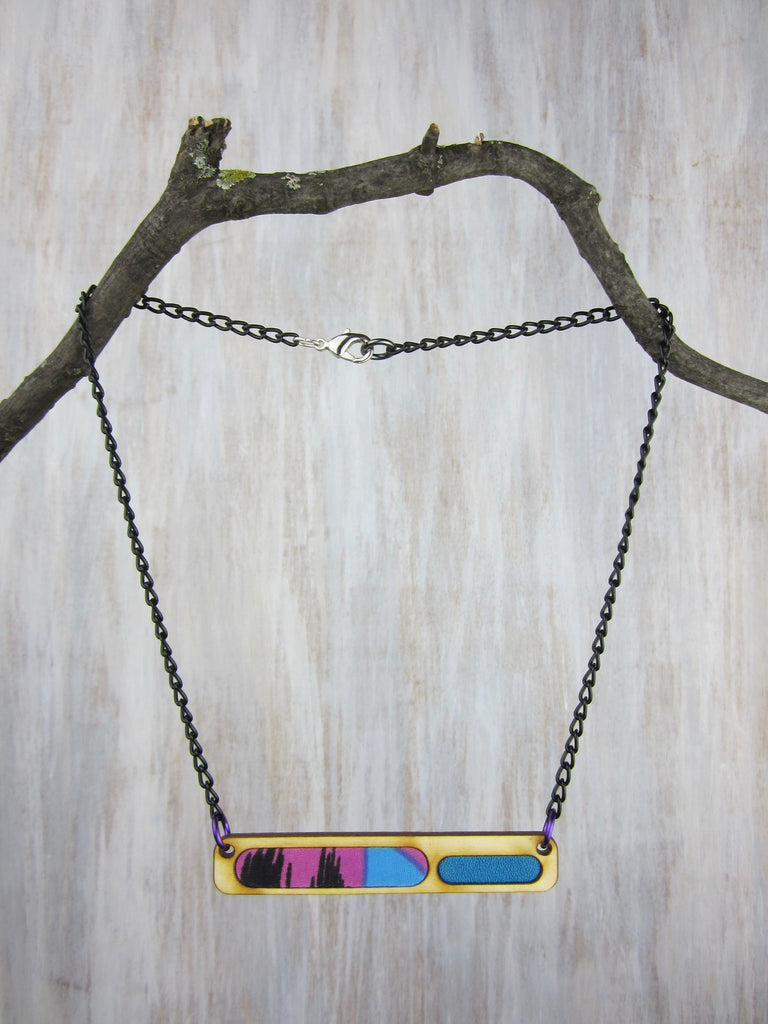 Wood/Fabric Necklace - Blue Rad Bar {ONE-OF-A-KIND}