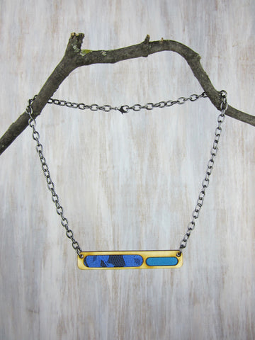 Wood/Fabric Necklace - Blue Lace Bar {ONE-OF-A-KIND}