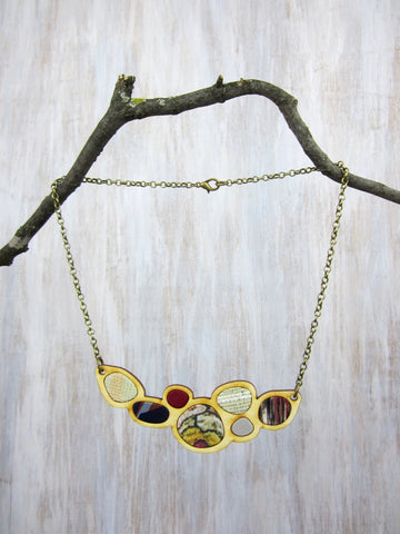 Wood/Fabric Necklace - Autumn Stones {ONE-OF-A-KIND}