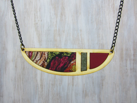 Wood/Fabric Necklace - Veggie Garden Crescent {ONE-OF-A-KIND}