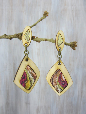 Wood/Fabric Dangle Earrings - Golden Glory {ONE-OF-A-KIND}