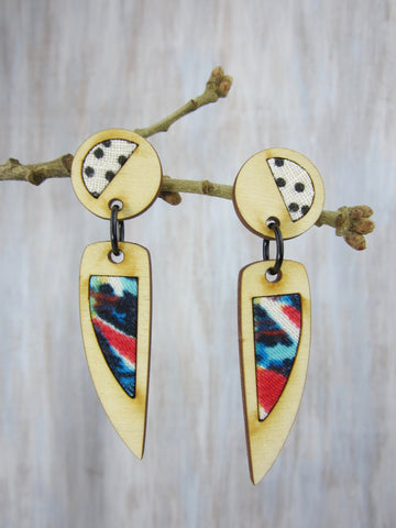 Wood/Fabric Dangle Earrings - Dots to Design  {ONE-OF-A-KIND}