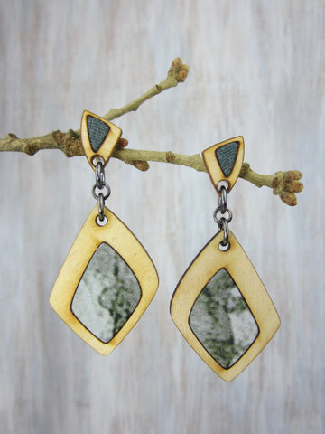 Wood/Fabric Dangle Earrings - River Moss {ONE-OF-A-KIND}