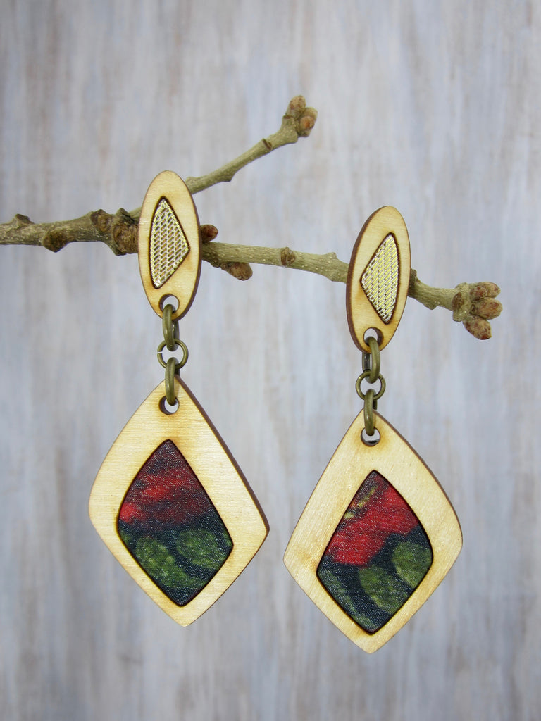 Wood/Fabric Dangle Earrings - Golden Red Rose Garden {ONE-OF-A-KIND}