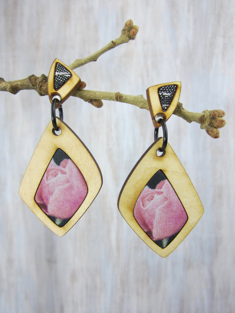 Wood/Fabric Dangle Earrings - Pink Rose {ONE-OF-A-KIND}