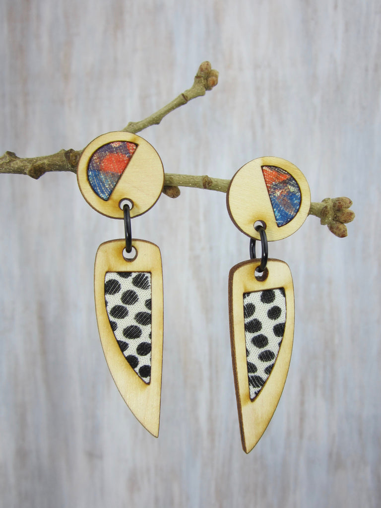 Wood/Fabric Dangle Earrings - Color me Dotted  {ONE-OF-A-KIND}