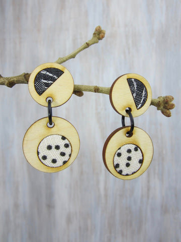 Wood/Fabric Dangle Earrings - Black Bubbles {ONE-OF-A-KIND}