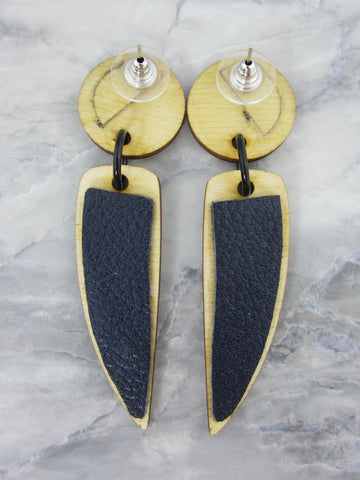 Wood/Fabric Dangle Earrings - Cheshire Night {ONE-OF-A-KIND}