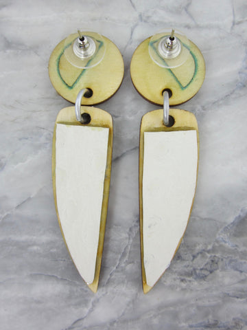 Wood/Fabric Dangle Earrings - Mermaid  {ONE-OF-A-KIND}