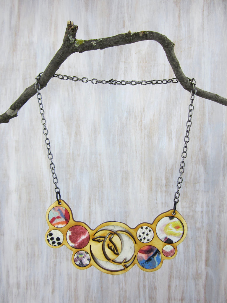Wood/Fabric Necklace - Summer Bird {ONE-OF-A-KIND}