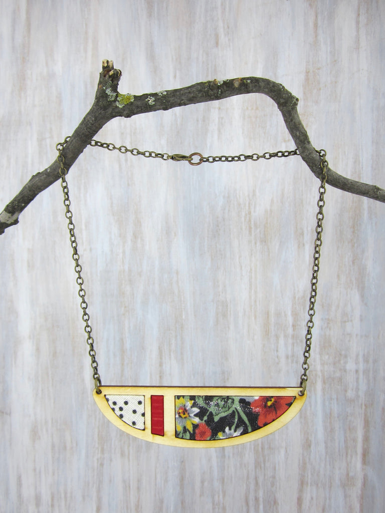 Wood/Fabric Necklace - Floral Crescent {ONE-OF-A-KIND}