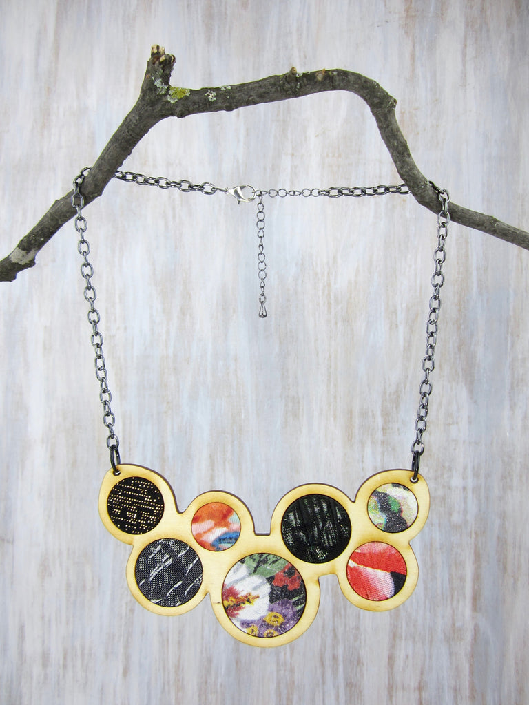 Wood/Fabric Necklace - Twilight Garden Circles {ONE-OF-A-KIND}