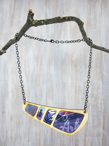 Wood/Fabric Necklace - The Ark {ONE-OF-A-KIND}
