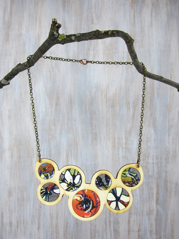 Wood/Fabric Necklace - Bee Love {ONE-OF-A-KIND}