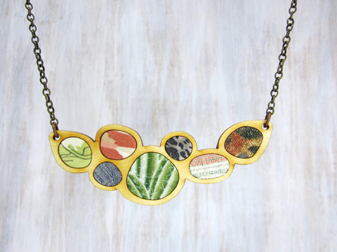 Wood/Fabric Necklace - Southwest Sizzle {ONE-OF-A-KIND}