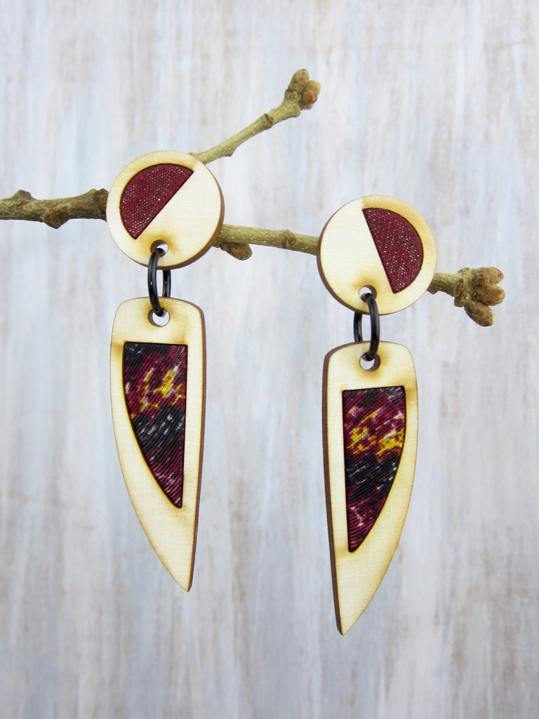 Wood/Fabric Dangle Earrings - Marooned Midnight {ONE-OF-A-KIND}