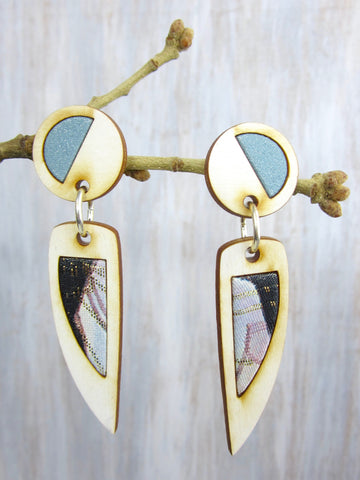 Wood/Fabric Dangle Earrings - Fairy Wings {ONE-OF-A-KIND}