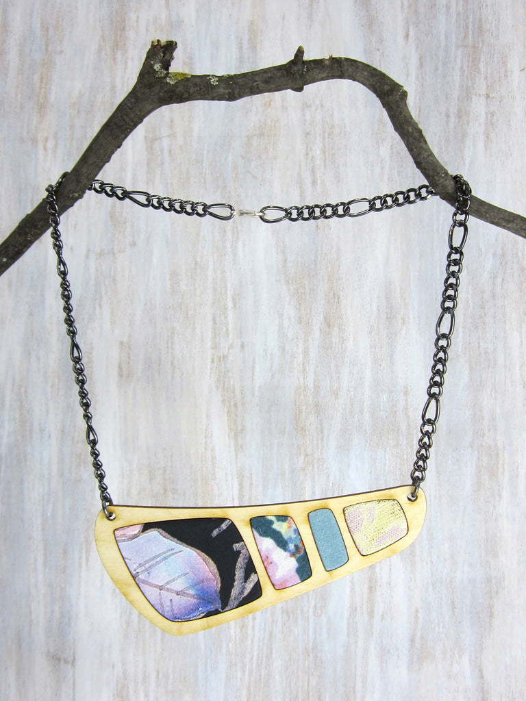 Wood/Fabric Necklace - Morning Dew {ONE-OF-A-KIND}
