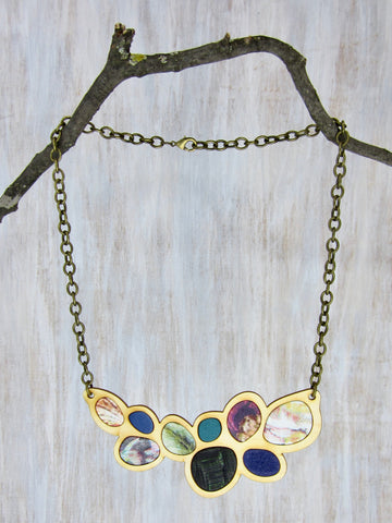 Wood/Fabric Necklace - Jeweled Petals {ONE-OF-A-KIND}