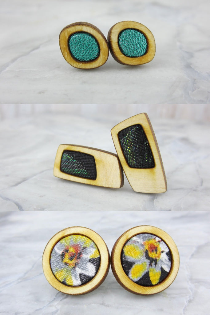 Wood/Fabric Stud Earring Set - Daisy Field  {ONE-OF-A-KIND}