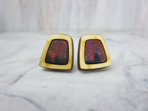 Wood/Fabric Stud Earrings - Red Rock Squares {ONE-OF-A-KIND}