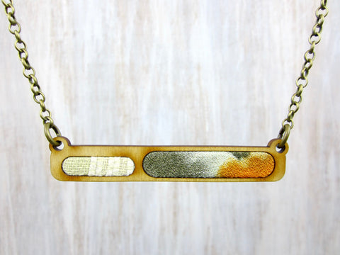 Wood/Fabric Necklace - Neutral Bar {ONE-OF-A-KIND}
