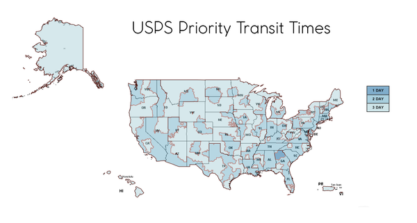 USPS Priority Transit Time Map From North GA