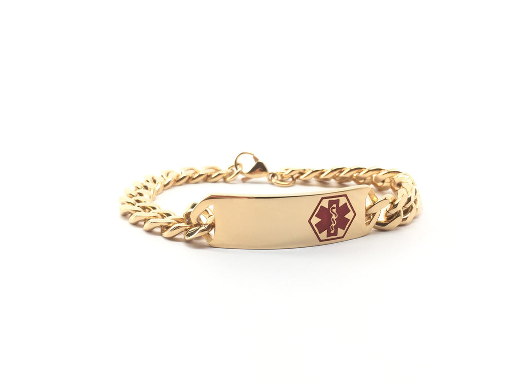 Medical Alert Bracelet With Chain In Gold With Red Alert Symbol