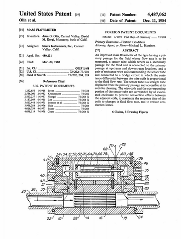 Dave Korpi Patent Improved Thermal Mass Flow Meter