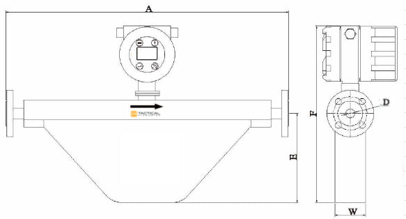 V Series COriolis Mass Flow Meter Dimensions
