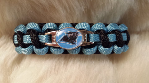 NFL NORTH CAROLINA PANTHERS PARACORD BRACELET-CHOOSE SIZE