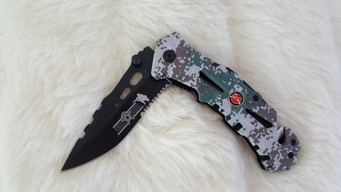 CAMO SPRING ASSIST MILITARY POCKET KNIFE