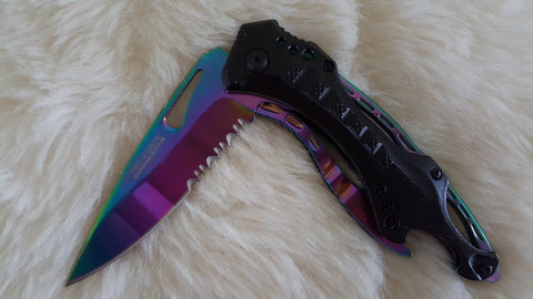 RAINBOW SPRING ASSIST POCKET KNIFE W/BOTTLE OPENER