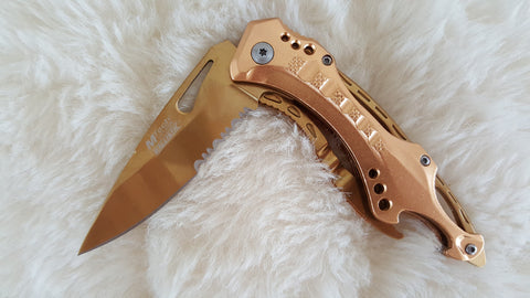 GOLD TITTANIUM COATED POCKET KNIFE W/CAN OPENER