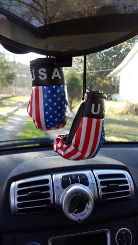 Rearview Mirror USA BOXING GLOVES-New