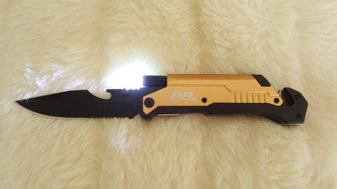 GOLD LED FIRE STARTER POCKET KNIFE