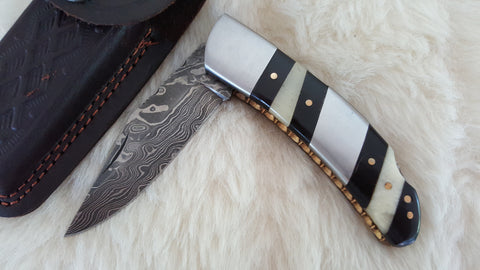 """ZEBRA"" HAND FORGED DAMASCUS POCKET FOLDER W/LEATHER SHEATH"