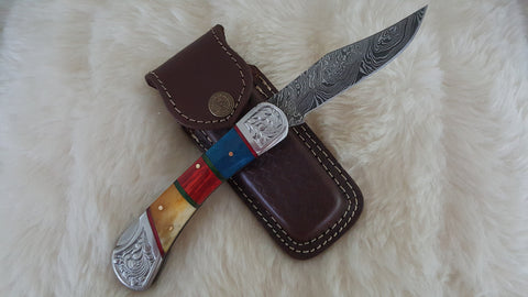 """DESERT SUN"" DAMASCUS POCKET KNIFE W/LEATHER SHEATH"