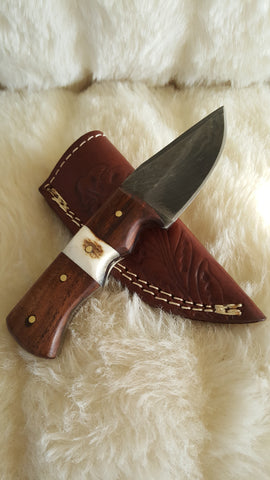 "CUSTOM DAMASCUS ""MINI HUNTER"" STAG/WALNUT HUNTING KNIFE W/SHEATH"