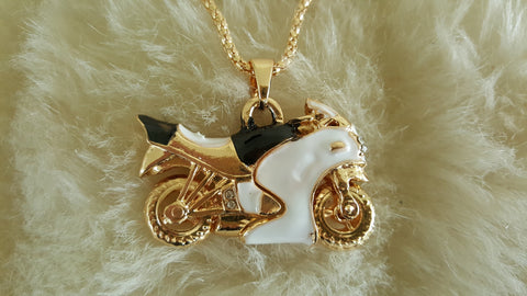BETSEY JOHNSON NINJA MOTORCYCLE NECKLACE