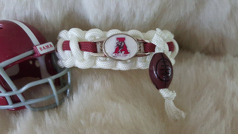 ALABAMA PARACORD BRACELET W/FOOTBALL CHARM-CHOOSE SIZE