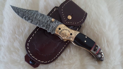 """YELLOW ROSE OF TEXAS"" DAMASCUS/BULL/SHEEP POCKET KNIFE"