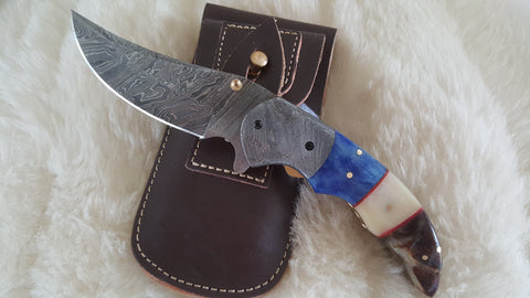 """BLUE CRUSH"" DAMASCUS/CAMEL/RAM HORN POCKET KNIFE"