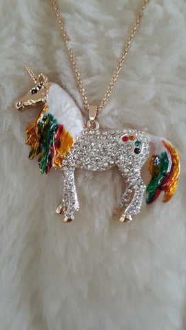 BETSEY JOHNSON RHINESTONE UNICORN RAINBOW NECKLACE