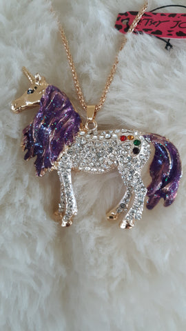 BETSEY JOHNSON RHINESTONE UNICORN 3D Necklace