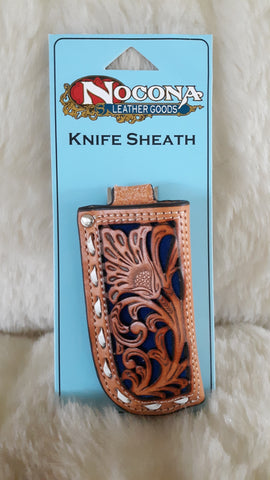 "CUSTOM TOOLED ""NOCONA"" TAN LEATHER KNIFE SHEATH"