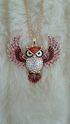 BETSEY JOHNSON OWL IN FLIGHT NECKLACE