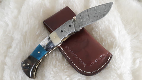 """RIDERS ON THE STORM"" DAMASCUS CAMEL BONE/SHEEP HORN POCKET KNIFE"